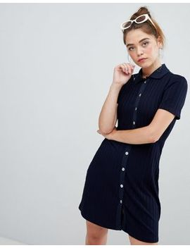 bershka-polo-button-and-ribbed-swing-dress-in-blue by bershka