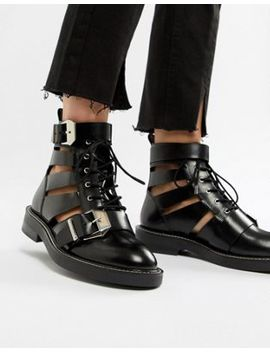 Asos Design Premium Archer Leather Cut Out Ankle Boots by Asos Design