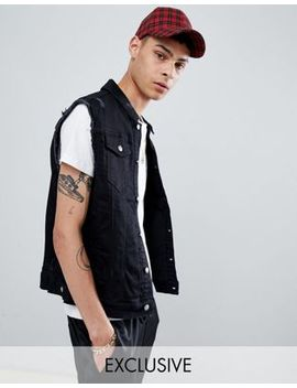 Sixth June Sleeveless Denim Jacket In Black Exclusive To Asos by Sixth June
