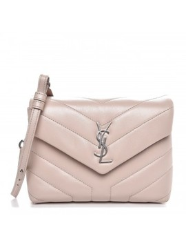 6205e37a SAINT LAURENT Calfskin Matelasse Toy Loulou Crossbody Bag Marble Pink