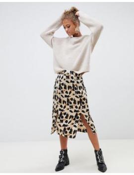 ec41c474a1c861 Influence - Jupe mi-longue fendue en satin à imprimé léopard