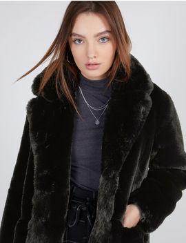 la moitié 3cce1 73de3 manteau long imitation fourrure noir