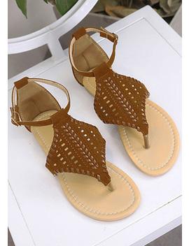 7107d1526 Shoptagr | Solid Ankle Strap Flat Sandals by Fairyseason