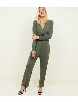 3492276e87 NEW LOOK. KHAKI CREPE JERSEY WRAP FRONT LONG SLEEVE JUMPSUIT