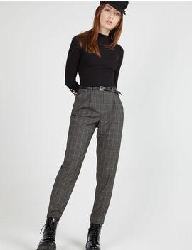 nouvelles photos qualité véritable pantalon ville avec ceinture gris anthracite chiné