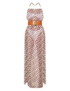 3aeddb8f3a51 brown-zebra-belted-split-beach-maxi-dress by prettylittlething