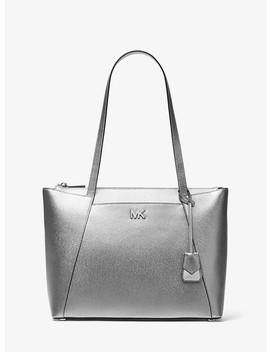 4ed776c2365d74 Shoptagr   Maddie Medium Metallic Crossgrain Leather Tote by Michael ...