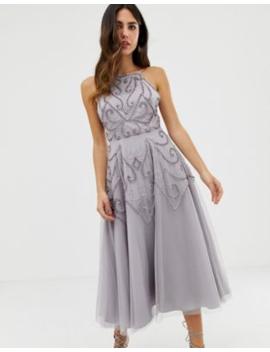 e7fcfba639d1 Shoptagr | Asos Design Delicate Beaded Backless Midi Dress by Asos ...