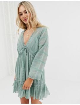 c5b0c1215b163 Shoptagr | Asos Design Lace Insert Mini Smock Dress With Lace Up ...