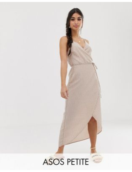 3587019df229 Shoptagr | Asos Design Petite Cami Wrap Maxi Dress In Seersucker ...