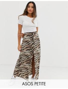 65de39eaab25a Shoptagr   Asos Design Petite Button Front Maxi Skirt In Tiger Print ...