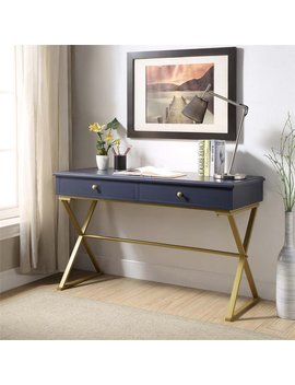 Riverbay Furniture Writing Desk In Blue And Gold Keep In Touch by Homes Quare