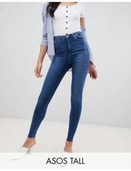 0fca7109feed47 Shoptagr | Asos Design Tall Ridley High Waisted Skinny Jeans In Dark ...