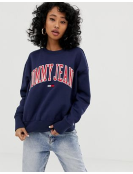 1d9b79bf Shoptagr | Tommy Jeans Clean Collegiate Crew Neck Sweatshirt by ...