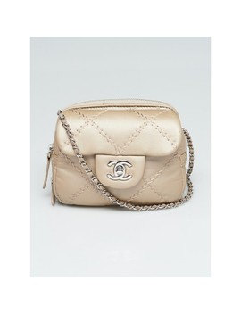 d502e7e6b Shoptagr | Dark Silver Quilted Leather Ultimate Stitch Woc Mini Flap ...