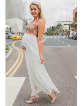 9b73914fbf876 Shoptagr   Ivory Gold Sequin Top Chiffon Sleeveless Maternity ...