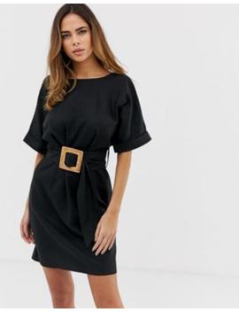 138aeb5a30e asos-design-mini-wiggle-dress-in-linen-with-