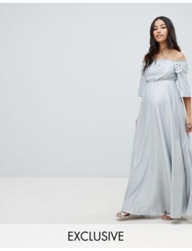 5a0ac0f1bd69d Shoptagr | Asos Design Maternity Lace Bardot Maxi Dress by Asos Design