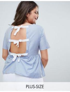 695dc511bb4bc2 Shoptagr | Brave Soul Plus Faith Stripe Top With Bow Back Detail by ...