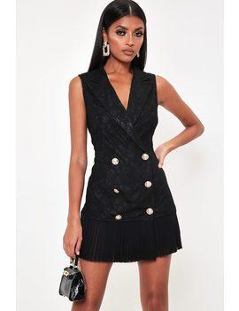 c827b095816 black-pleated-hem-lace-blazer-dress by i-saw-