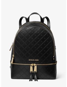 ada6b7e1b9db Shoptagr   Rhea Medium Chain Embossed Leather Backpack by Michael ...