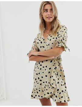 e1ec5fea0fc Wednesday's Girl wrap mini dress with tie sleeves and ruffle hem in  abstract spot print