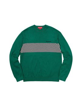 b118a242 Shoptagr | Supreme Checkered Panel Crewneck Sweater Forest Green by ...