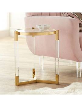 Incredible Shoptagr Darla 19 Wide Gold And Acrylic Modern Round Squirreltailoven Fun Painted Chair Ideas Images Squirreltailovenorg