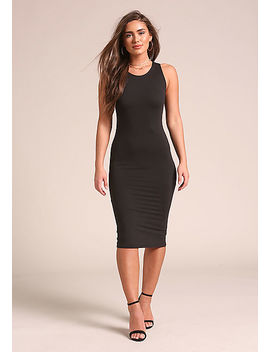 Black Minimalist Tank Bodycon Dress by Love Culture