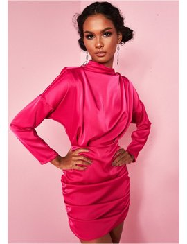 344ed6dfb72 ira-hot-pink-ruched-high-neck-satin-mini-