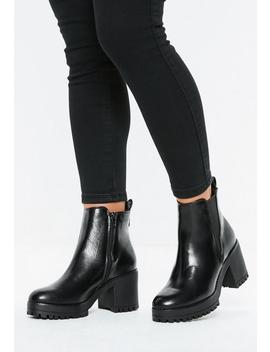 9cb16bd1d25 Shoptagr | Black Faux Leather Chunky Chelsea Ankle Boots by Missguided