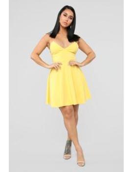 926328fcfe0 vanity-flare-mini-dress---yellow by fashion-nova