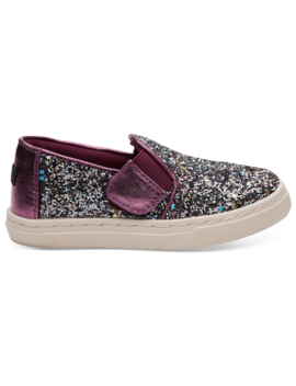 Plum Party Glitter Tiny Toms Luca Slip Ons by Toms