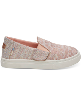 Rose Cloud Cheetah Embroidery Twill Glimmer Tiny Toms Luca Slip Ons by Toms