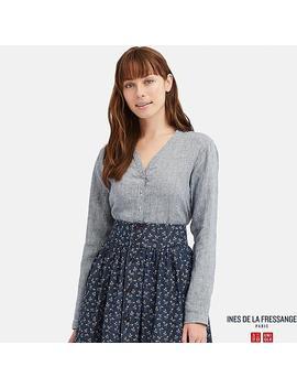 qualité fiable trouver le travail rétro Shoptagr | Ines Blouse En Lin Col En V Manches Longues Femme ...