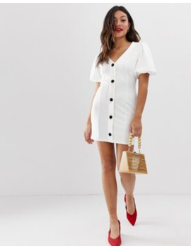 0d608740a63c3 ASOS DESIGN. ASOS DESIGN SEAMED MINI DRESS WITH PUFF SLEEVES AND CONTRAST  BUTTONS