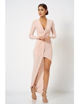 aa8d1287c751 Shoptagr | Nude Pink Asymmetric Knot Front Maxi Dress by Club L London