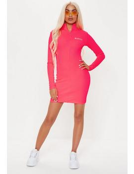 4dff13a5375 Shoptagr | Playboy X Missguided Pink Zip Front Ribbed Long Sleeve ...