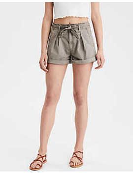 Short con cintura alta estilo bolsa de papel