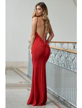 d369daf95a16 Shoptagr | Red Backless Knot Detail Fishtail Maxi Dress by Club L London