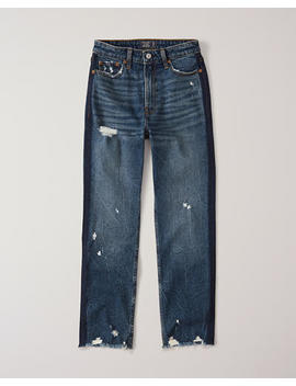 High Rise Ankle Straight Jeans by Abercrombie & Fitch