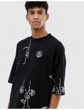 8abbcfbe1cd5 Shoptagr | Asos Design Oversized T Shirt With All Over Line Print by ...