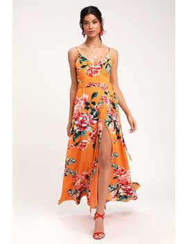 floral-flirtation-orange-floral-print-wrap-maxi-dress by lulus
