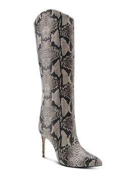womens-maryana-snake-embossed-high-heel-boots by schutz