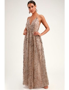 4970883af11a Shoptagr | Luminous Night Taupe Glitter Sequin Maxi Dress by Lulus