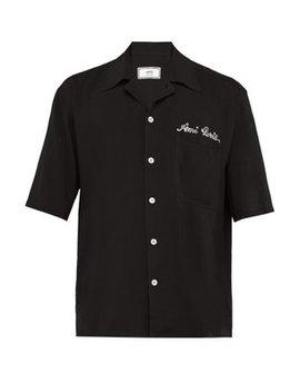 logo-embroidered-cuban-collar-poplin-shirt by ami