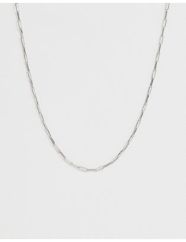 asos-design-necklace-in-fine-open-link-chain-in-silver-tone by asos-design