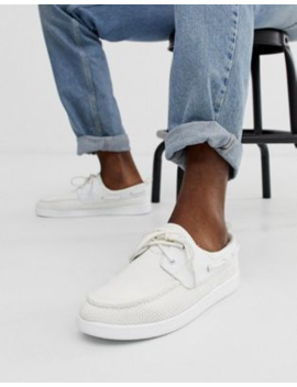 dd3b2ac72a ASOS DESIGN boat shoes in white mesh