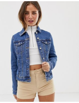 bershka-fitted-denim-jacket-in-blue by bershka