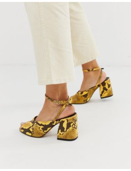 asos-design-harmonica-mid-heeled-sandals-in-yellow-snake by asos-design